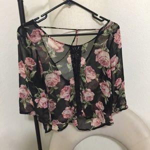 Sheer Boho Floral Wide Sleeve Backless Top